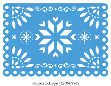 Christmas Papel Picado vector design with snowflake, Mexican winter paper decorations, blue and white 5x7 greeting card pattern. Festive Xmas party banner inspired by garlands in Mexico