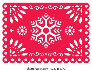 Christmas Papel Picado vector design with snowflake, Mexican winter paper decorations, red and white 5x7 greeting card pattern. Festive Xmas party banner inspired by garlands in Mexico with Christmas