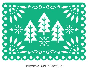 Christmas Papel Picado vector design with Xmas trees, Mexican winter paper party decorations, green and white 5x7 greeting card pattern.  Festive Xmas party banner inspired by garlands in Mexico