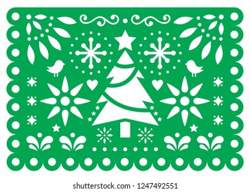 Christmas Papel Picado vector design, Mexican Xmas paper decorations, green and white 5x7 greeting card pattern. Festive party banner inspired by garlands in Mexico with Christmas tree, stars