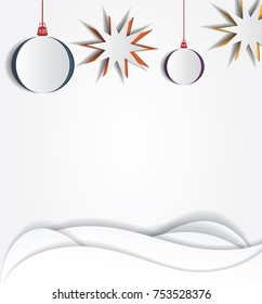 Christmas paper stars and balls. Vector layered template. Realistic cutout decor. Space for your text and design. New year mock up design. Abstract background.