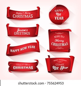 Christmas Parchment Scroll Collection/ Illustration of a set of christmas and happy new year banner on red parchment scroll, for winter and december holidays
