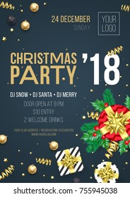 christmas party 2018 invitation poster template of golden new year decoration christmas tree gold glitter