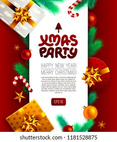 Christmas party background. Vector design template of xmas party poster. Holiday background with christmas gifts, candy canes, christmas tree branches, and ornaments. New year eve celebration concept