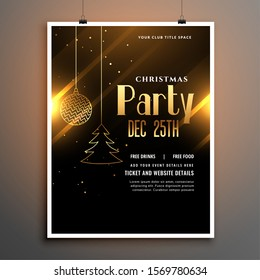 christmas party black and gold poster flyer template design