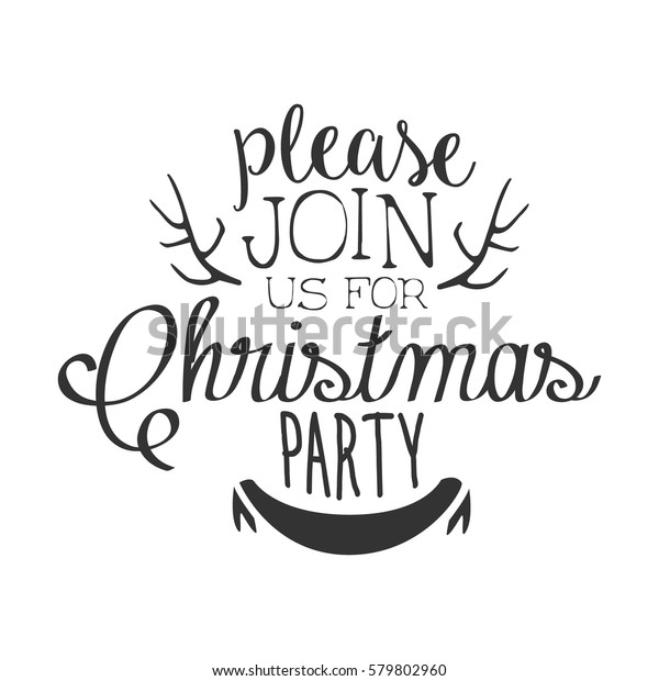 Christmas Party Black White Invitation Card Royalty Free