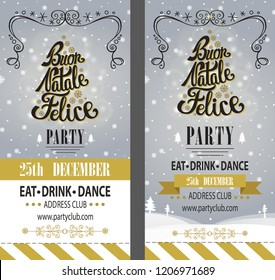Christmas party. Buon Natale Felice invitation,design template,flyer,ticket set.Vector. Merry Christmas handwriting lettering. Vintage background,border decor,ribbon. Calligraphy design.Illustartion