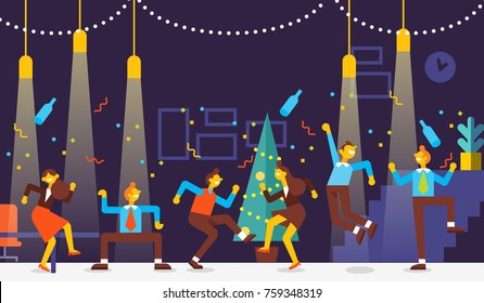 Christmas party. Business people Celebrate Merry Christmas And Happy New Year in office. They dancing , having fun and drinking alcohol at a party. Cartoon style, flat vector illustration.
