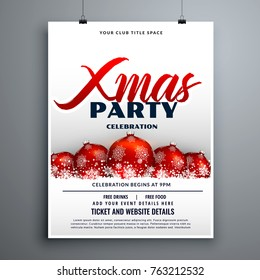christmas party celebration flyer design with red decoration balls
