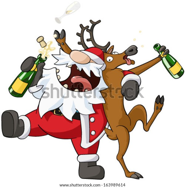Christmas Party Images Cartoon.Christmas Party Celebration Humorous Cartoon Vector Stock
