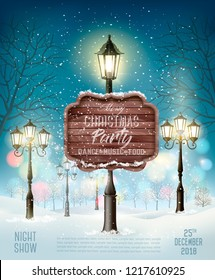 Christmas Party Design Template With Evening Winter Landscape and Lamppost. Vector