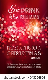 Christmas party or dinner invitation, poster, flyer, greeting card, menu design template. Vector illustration