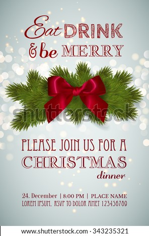 christmas party dinner invitation poster flyer stock vector royalty