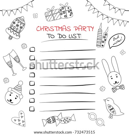 christmas party do list black white stock vector royalty free