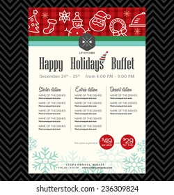 Christmas party festive restaurant menu design template