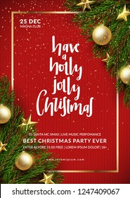Christmas party flyer design. Winter holidays background. Eps10 vector.