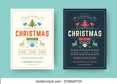 Christmas party flyer event vintage typography and decoration elements. Christmas holidays event invitation or poster design. Vector illustration.