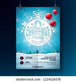 Christmas Party Flyer Illustration with Typography Lettering and Holiday Elements on Winter Landscape Background. Vector Celebration Poster Design Template for Invitation or Banner.