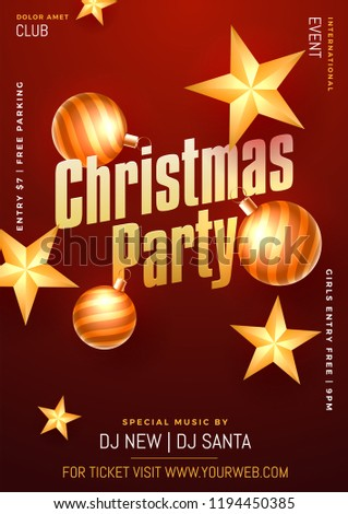 christmas party flyer ot template design stock vector royalty free