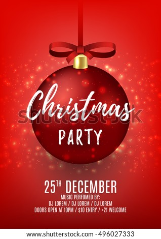 christmas party flyer with red ball elegant vector illustration with snow beautiful background with