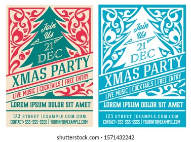 Christmas party flyer retro typography and ornament decoration. Christmas holidays invitation or poster design. Vector illustration.