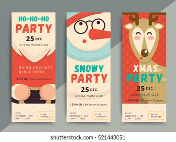 Christmas party flyer template design. Xmas poster in funny cartoon style. Winter holiday club event admission or entrance ticket layout. Vector illustration