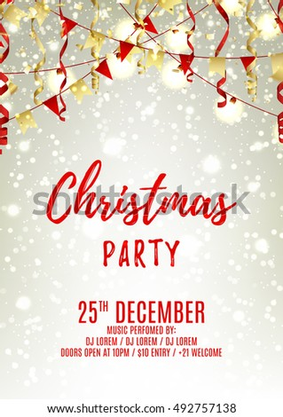 christmas party flyer template elegant vector stock vector royalty
