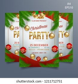 christmas party flyer template on white background