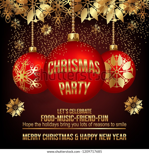 Christmas Party Flyer Template.Christmas Party Flyer Template On Black Stock Vector