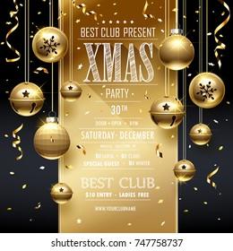 Christmas Party Golden design template. Vector illustration