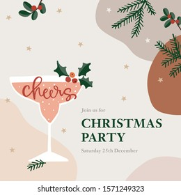 Christmas party greeting card, invitation. Cocktail, wine glass with holly berries. Cheers handletterd text. Winter celebration concept. Anstract background with fir branches, stars and cranberries.