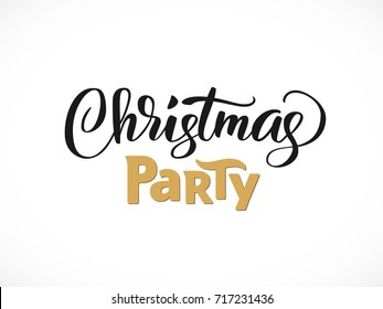 Christmas party hand written lettering, modern calligraphy. Typography isolated on white background, vector illustration. Great for party posters and banners.