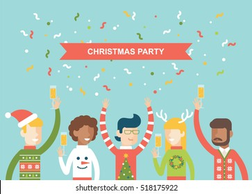 Christmas party happy people celebrating christmas flat vector illustration