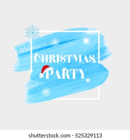 'Christmas Party' holiday sign text over abstract blue brush paint background vector illustration.