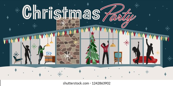 Christmas Party Illustration Mid Century Modern Style
