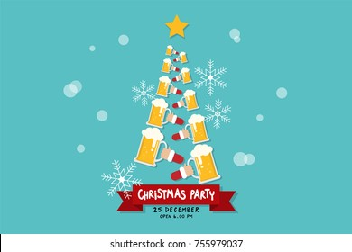 Christmas party invitation with beer and tree