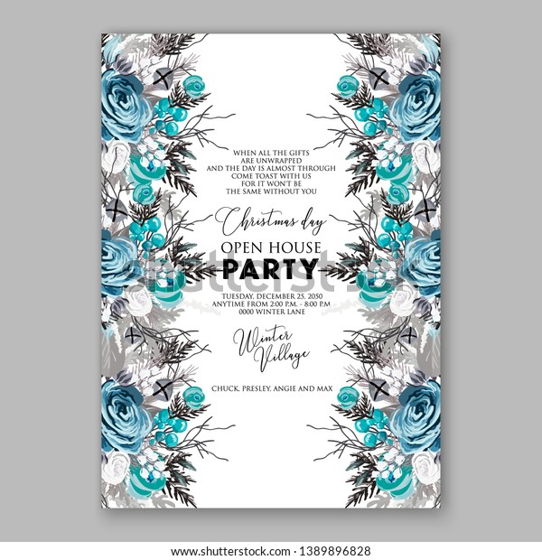 Christmas Party Invitation Blue Rose Fir Stock Vector