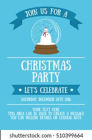 Christmas party invitation card design. Vector illustration.
