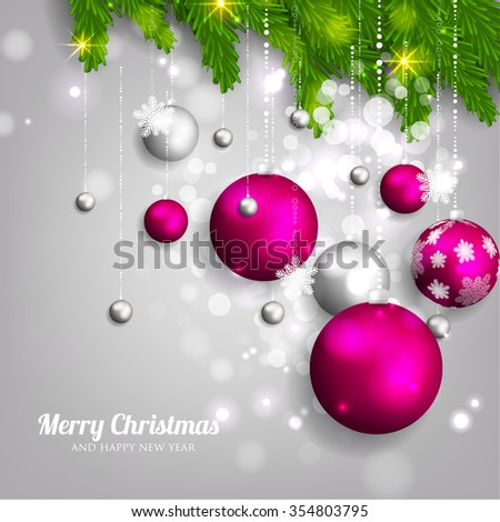 christmas party invitation with fir branch bow and stars merry christmas and happy new