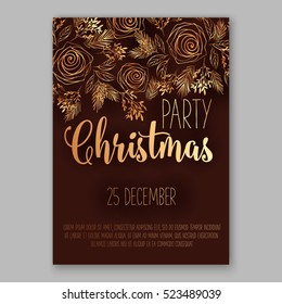 Christmas party invitation with fir, pine, rose gold text