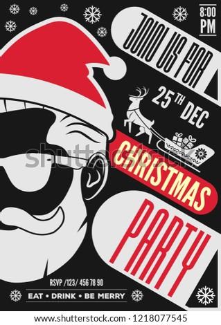 Christmas Party Invitation Flyer Poster Design Image Vectorielle De