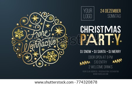 christmas party invitation german frohe weihnachten stock vector