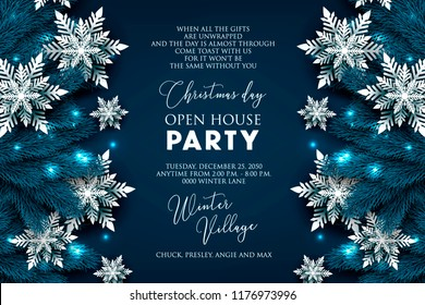 Christmas Party invitation greeting card paper snowflakes in a fir pine tree branches vector illustration