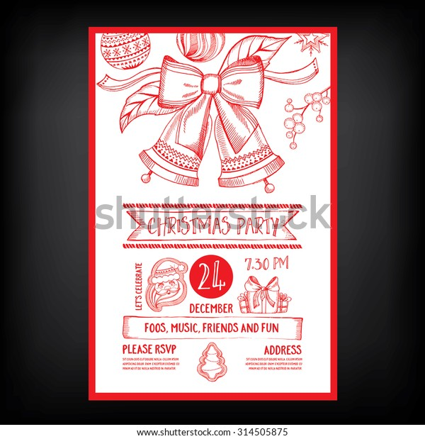 Christmas Party Invitation Holiday Card Vector | The Arts, Vintage ...