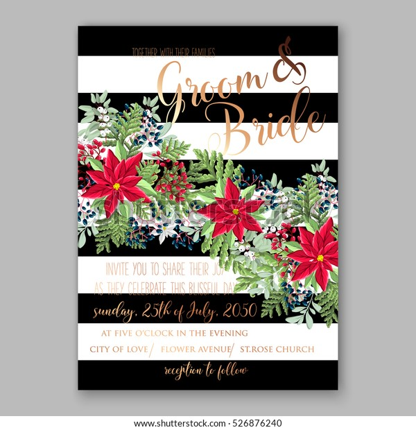 Christmas In July Invitations Free.Christmas Party Invitation Holiday Wreath Poinsettia Stock