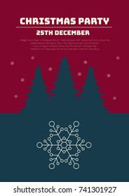Christmas party invitation. Christmas holidays leaflet or poster. Vector illustration.
