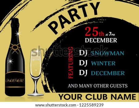 christmas party invitation horizontal template with champagne bottle and wineglass new year background vector