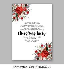 Christmas Party Invitation marsala rose fir burgundy peony winter wreath wedding invitation vector card template