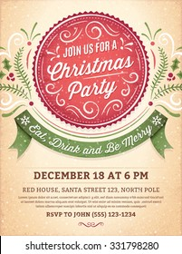 Christmas party invitation with ornaments, label and ribbon. Vector format.