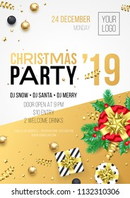 Christmas party invitation poster or card for 2019 Happy New Year holiday celebration. Vector new year gifts and golden stars with confetti glitter and gifts